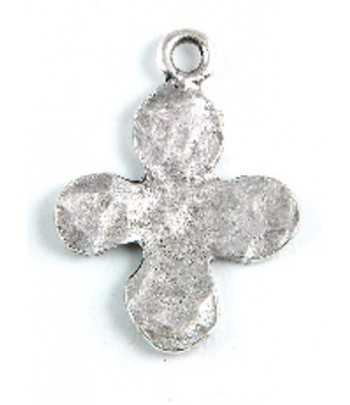 Hammered Curved Cross Charm with 2 Holes