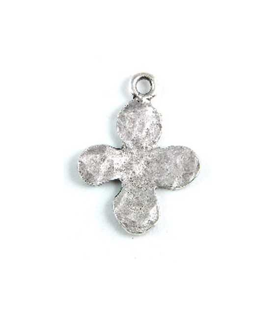 49x36mm Hammered Curved Cross w/2Holes Charm
