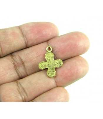 Hammered Curved Cross w/2Holes Charm 46x33mm