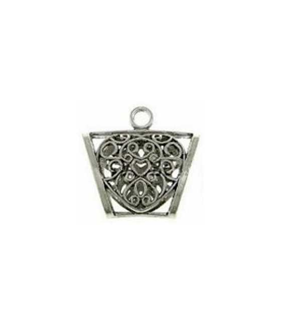 Hammered Cross with Cross Cutout Charm 50x36mm