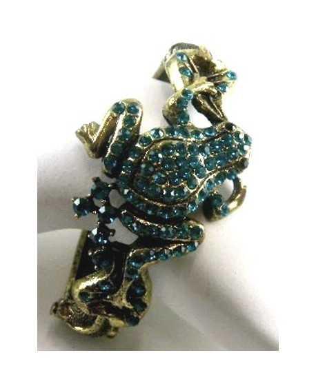 Rhinestone Frog Bangle Turquoise - BL-FROG