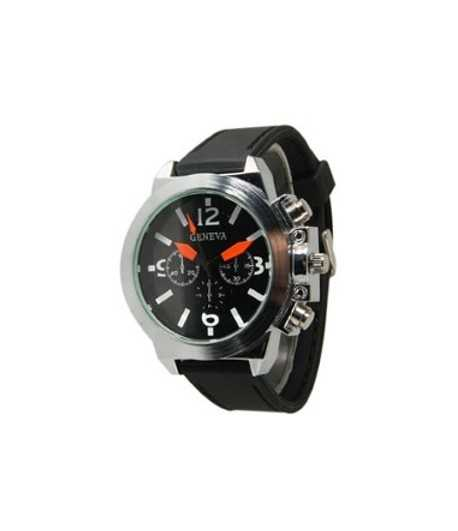 Men's Black Strap Silicon Watch - 11220