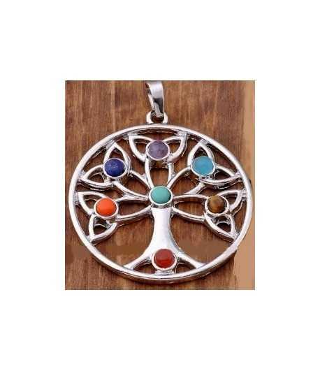 Seven Gemstone Tree of Life Pendant - Jolin SP-13 40mm