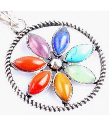 Seven Gemstone Flower Pendant - Jolin SP-10 40x40mm