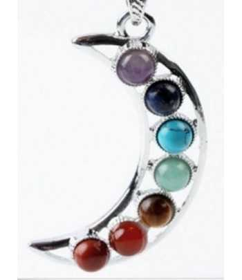 Seven Gemstone Moon Pendant...