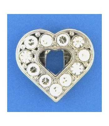 Crystal Heart Slide Charm -...
