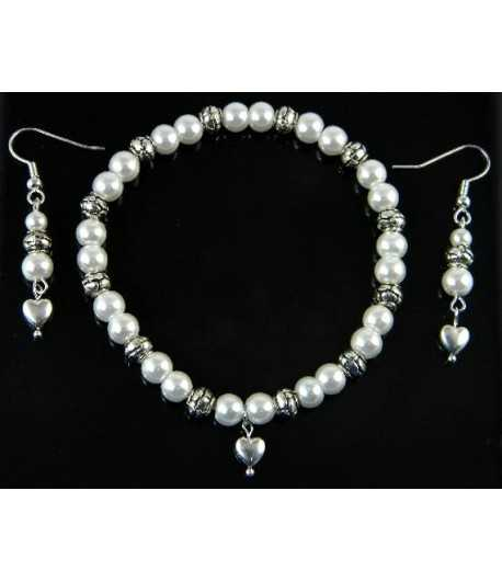 Elegant Pearl Stretch Bracelet w/Earrings - DAG-PJ2 7.5 Inch