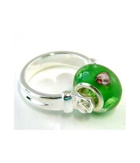 Green with Pink Flowers Euro Style - PR8-25 Size 8 Ring