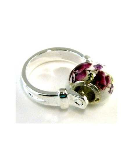 Mauve Flowered Euro Style - PR8-2 Size 8 Ring