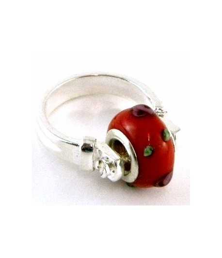 Red with Multi Colored Dots Euro Style - PR7-46 Size 7 Ring