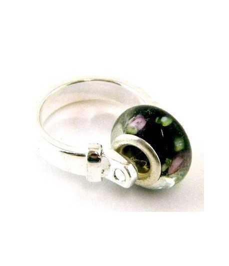 Purple Flowers on Black Euro Style - PR7-33 Size 7 Ring