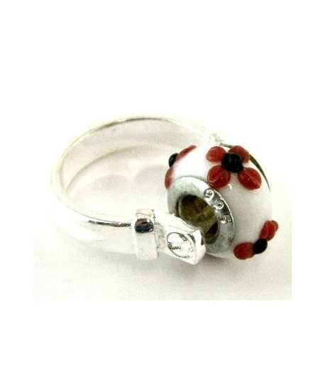 Red and Black Flower on White Euro Style - PR7-22 Size 7 Ring