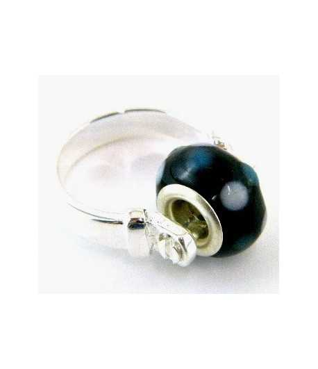 Black with White Dots Euro Style - PR7-21 Size 7 Ring