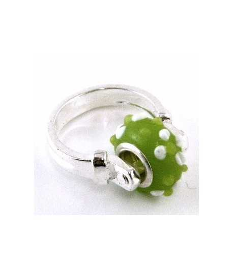Lime Green with White Dots Euro Style - PR7-16 Size 7 Ring