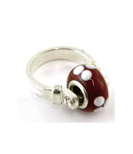 Red with White Dots Euro Style - PR7-13 Size 7 Ring