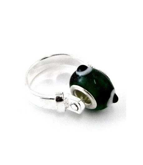 Green with Black and White Dots Euro Style -PR7-7 Size 7 Ring