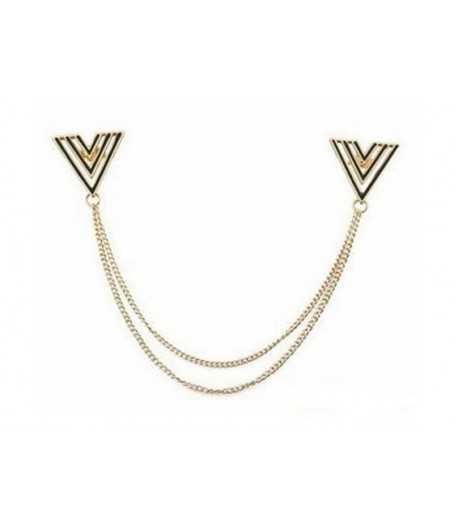 Gold Triangle Collar Chain Brooch - JWLRYSPRMKT-01