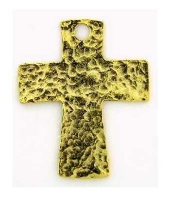 Antq Gold Hammered Cross...