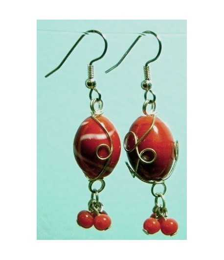 Red White Silver Wire Wrapped Earrings - CE-6