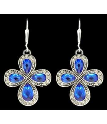 Cross Teardrop Blue Crystal...