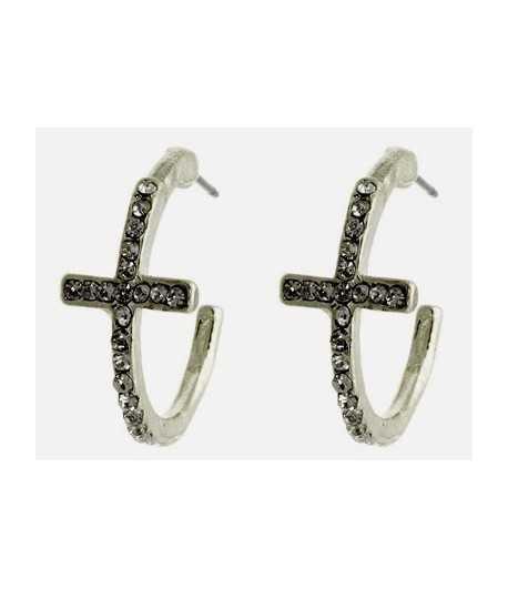 Silver Crystal Pave Earrings with Earring Backs - HAE112256RDCLR