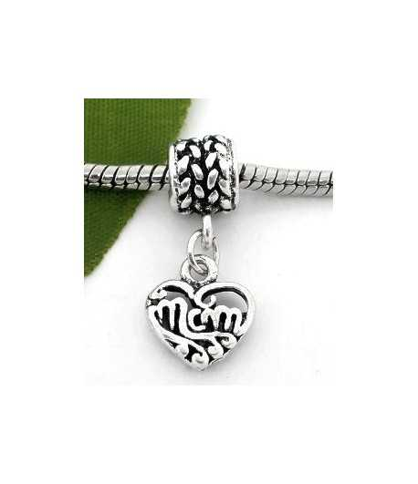 """""""Number 1 Mom"""" Sterling Charm 15x15mm"""