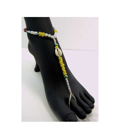 Browns/White Beaded Anklet - BC-AB11