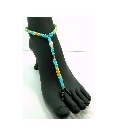 Yellow/Turquoise Beaded Stretch Barefoot Sandal - BC-TAB3