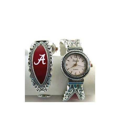 Alabama (AL) Crimson Tide Sterling College Plated Cuff Watch 47760