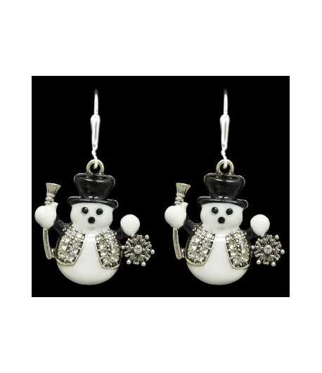 Black & White Snowman Sterling Plated Earrings - 51280