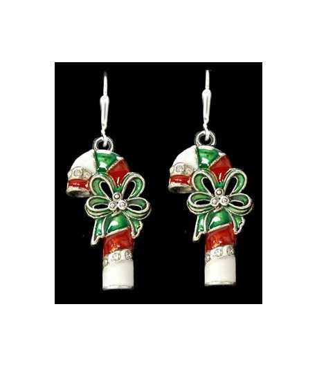 Candy Cane Sterling Plated Earrings - 48035