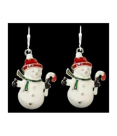 Snowman w/Red Cap Sterling Plated Earrings - 48027