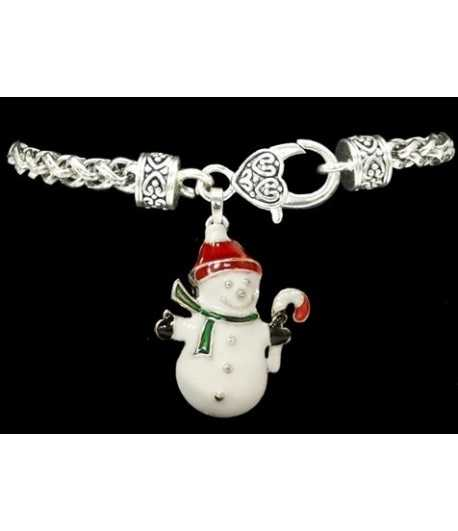 Snowman w/Red Cap Clasp Sterling Plated Bracelet - 48029 7.5 Inch