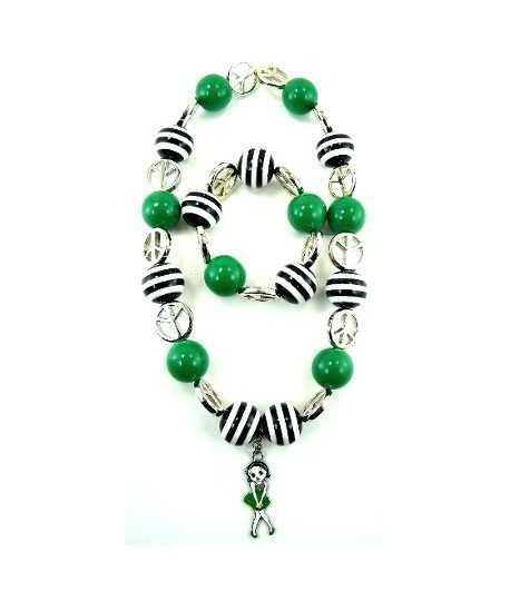 DAG-KD9 Kids Acrylic Beaded Necklace w/Pendant & Bracelet Set Green / Zebra