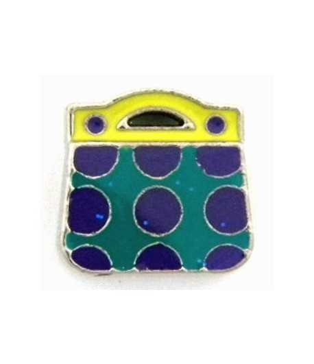 Turquoise Purple Purse Slide Charm RSB359-6 13x13mm