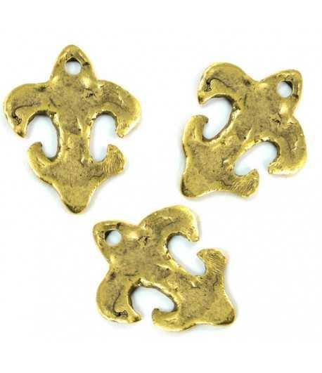 Hammered Fleur De Lis Charm Gold TVT-HF