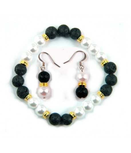 Lava Beads with White Pearl Bracelet and Earring Set TVT- LP1