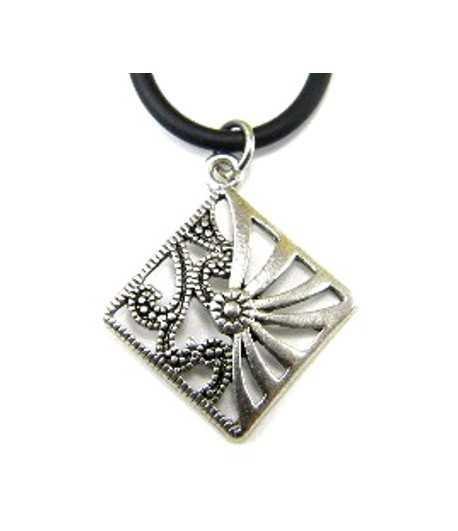 Metal Diamond 18in Black Necklace - B08733 28x24mm