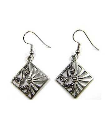 Metal Diamond Earrings -...
