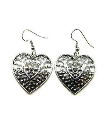 Metal Heart Earrings -...