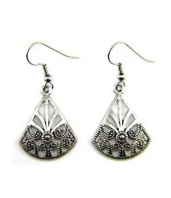 Metal Fan Earrings - B08734...