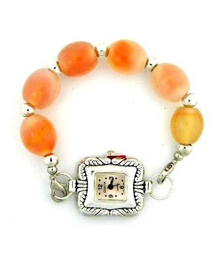 Stretch Bracelet Orange Beads with Interchangeable Watch - WB-JB9