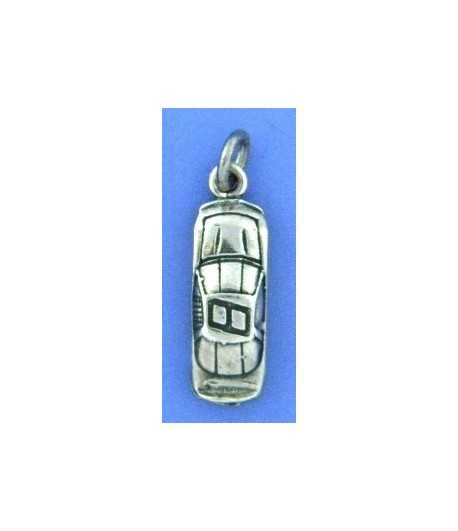 Racecar Number 8 Sterling Silver Charm 20x8mm