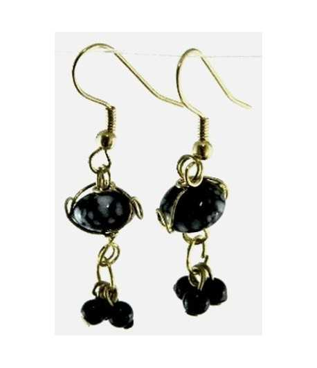 Black-White Gold Wire Wrapped Earrings - CE-84