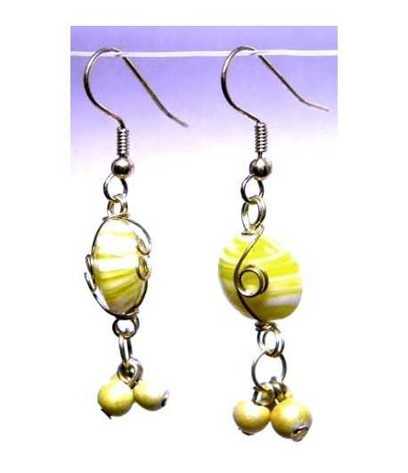 Yellow Gold Wire Wrapped Earrings - CE-82