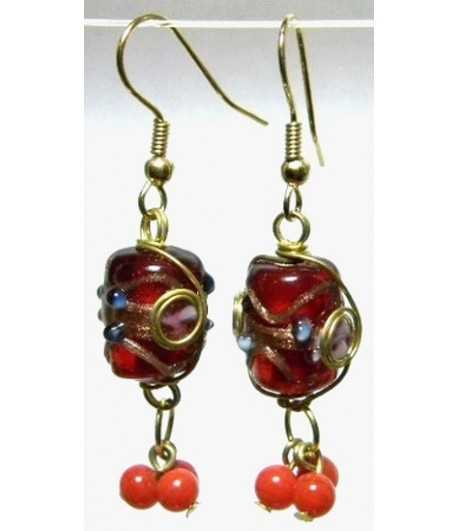 Red-Blue Gold Wire Wrapped Earrings - CE-81