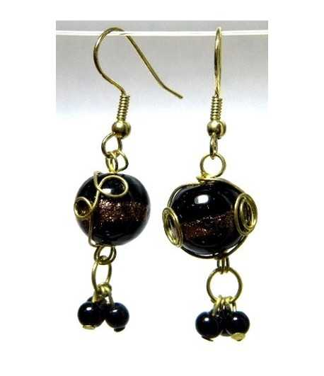 Black Gold Wire Wrapped Earrings - CE-80