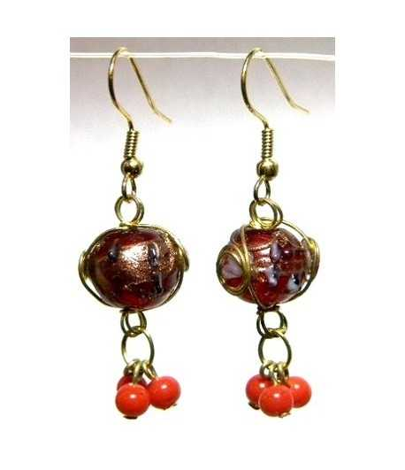 Red Gold Wire Wrapped Earrings - CE-79
