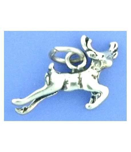 Leaping Deer Sterling Charm 17x15mm