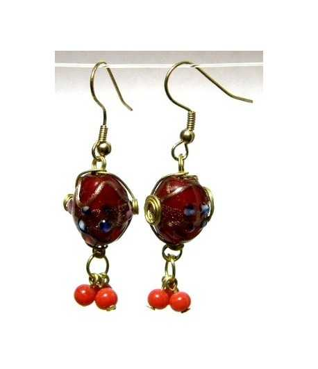 Red-Blue Gold Wire Wrapped Earrings - CE-77